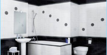 El diseño del cuarto de baño blanco y negro