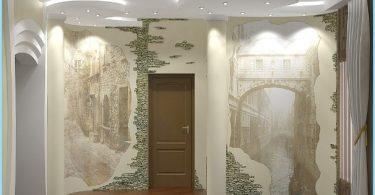 El diseño y la decoración de la sala de entrada con piedra decorativa
